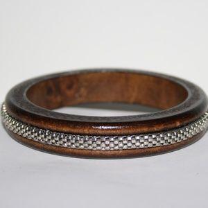 Stunning vintage wooden and chain bangle bracelet